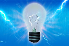 Light bulb. Over blue background Royalty Free Stock Photography