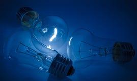 Light Bulb. On blue background Stock Photo