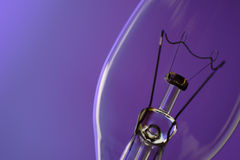 Light bulb. On blue purple background stock image