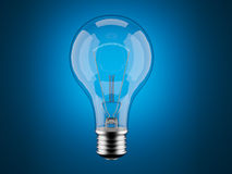 Light bulb 3d on blue. Innovation, imagination Stock Photo