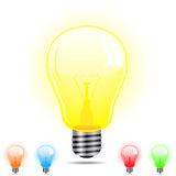 Light Bulb in 5 different colors Stock Photos