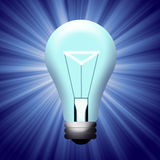 Light bulb. Illustration lit bulb with a blue background and Royalty Free Stock Photo