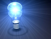 Light bulb. A light bulb with rays of light Royalty Free Stock Images