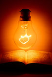 Light bulb above the holy bible. Still life of a lightbulb turned on above an opened holy book Royalty Free Stock Photography
