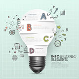 Light bulb abstract with doodle infographic elements Royalty Free Stock Photos