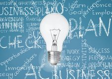 Light bulb against turqouise background with business chalk words written. Digital composite of Light bulb against turqouise background with business chalk words stock images