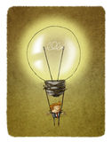 Light bulb air balloon with a businessman hanging from it. Idea concept of a light bulb air balloon with a businessman hanging from it Stock Photos