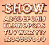 Light Bulb Alphabet with bright red frame and shadow on red backgrond. Glowing retro vector font collection with shiny. Lights. ABC and number design for casino royalty free illustration