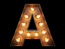 Light bulb alphabet character A font. Light bulb glowing letter alphabet character A font. Front view illuminated capital symbol on black background. 3d Royalty Free Stock Image