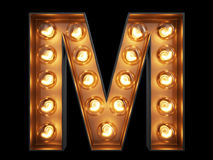 Light bulb alphabet character M font Royalty Free Stock Images