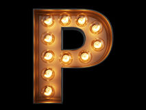 Light bulb alphabet character P font Royalty Free Stock Images