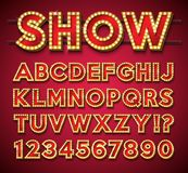 Light Bulb Alphabet with gold frame and shadow on red backgrond. Glowing retro vector font collection with shiny bright. Lights. ABC and number design for stock illustration