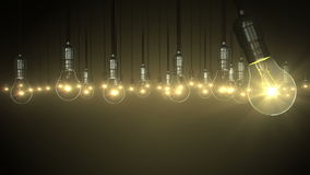Light bulb animation. swing glow rising, stock video footage