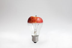 Light bulb with apple top Stock Photos