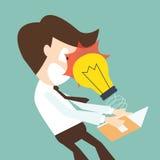 A light bulb attack businessman open book - knowledge concept Stock Photo