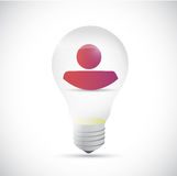 Light bulb with an avatar inside. Stock Photo