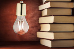 A light bulb in the background of books. The concept of knowledge and ideas. Stock Photos