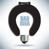 Light Bulb Bad Idea Concept with Toilet Seat Royalty Free Stock Image