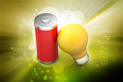 Light bulb with battery Stock Images
