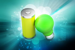 Light bulb with battery Royalty Free Stock Photos