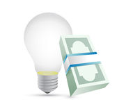 Light bulb and bills illustration design Royalty Free Stock Images