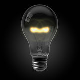 Light Bulb on Black. 3d render of a glowing light bulb on black stock illustration