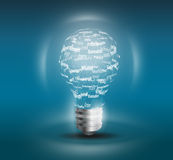 Light bulb on black background. With copy text royalty free illustration