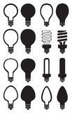 Light Bulb Black and White Vector Icon Set Royalty Free Stock Images