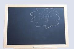Light bulb on blackboard Stock Photo