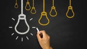 Light Bulb on Blackboard Royalty Free Stock Image