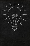 Light bulb on a blackboard with copy space. A lightbulb drawn on a chalkboard symbolizing ideas, inspiration and creativity with blank space for copy Stock Image