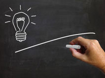 Light Bulb And Blackboard Copyspace Shows Ideas And Blank Vision Stock Images