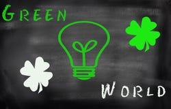 Light bulb  on blackboard energy concept. Stock Photos
