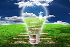 Light bulb with blue sky and grass field. stock photos