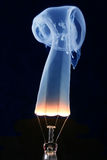 Light bulb and blue smoke on black Royalty Free Stock Photos