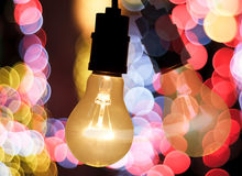 Light bulb and bokeh background Royalty Free Stock Images