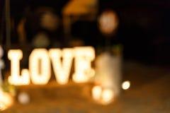 Light Bulb Bokhe. Beautiful Love Light Bokhe from LED bulb in festival decoration Stock Images