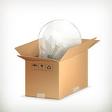 Light bulb in box Stock Photography