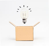 Light bulb in box. Think out of the box or thinking outside the box concept Stock Photography