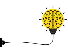 Light bulb with brain connected to power socket. Yellow Light bulb with brain connected to power socket Stock Photography