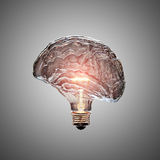 Light Bulb Brain. Glowing Light Bulb with the glass shaped as a Brain. This 3D illustration is conceptual of an active, creative, thinking mind or idea Stock Photo