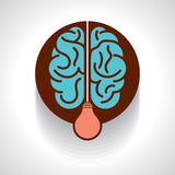 Light bulb with brain  icon idea concept Royalty Free Stock Photo