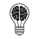 Light bulb with a brain icon. Vector illustration eps10 Stock Image