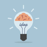 Light bulb with brain, Idea concept Stock Photo