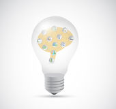 Light bulb and brain inside illustration design Stock Photos
