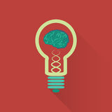 Light bulb brain with long shadow Royalty Free Stock Images