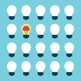 Light bulb with brain Stock Images
