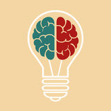 Light bulb with a brain. Vector illustration eps10 Royalty Free Stock Photo