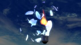 Light Bulb, Broken Glass, Flame, 3D Royalty Free Stock Image