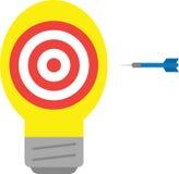 Light bulb with bullseye and dart Stock Photography